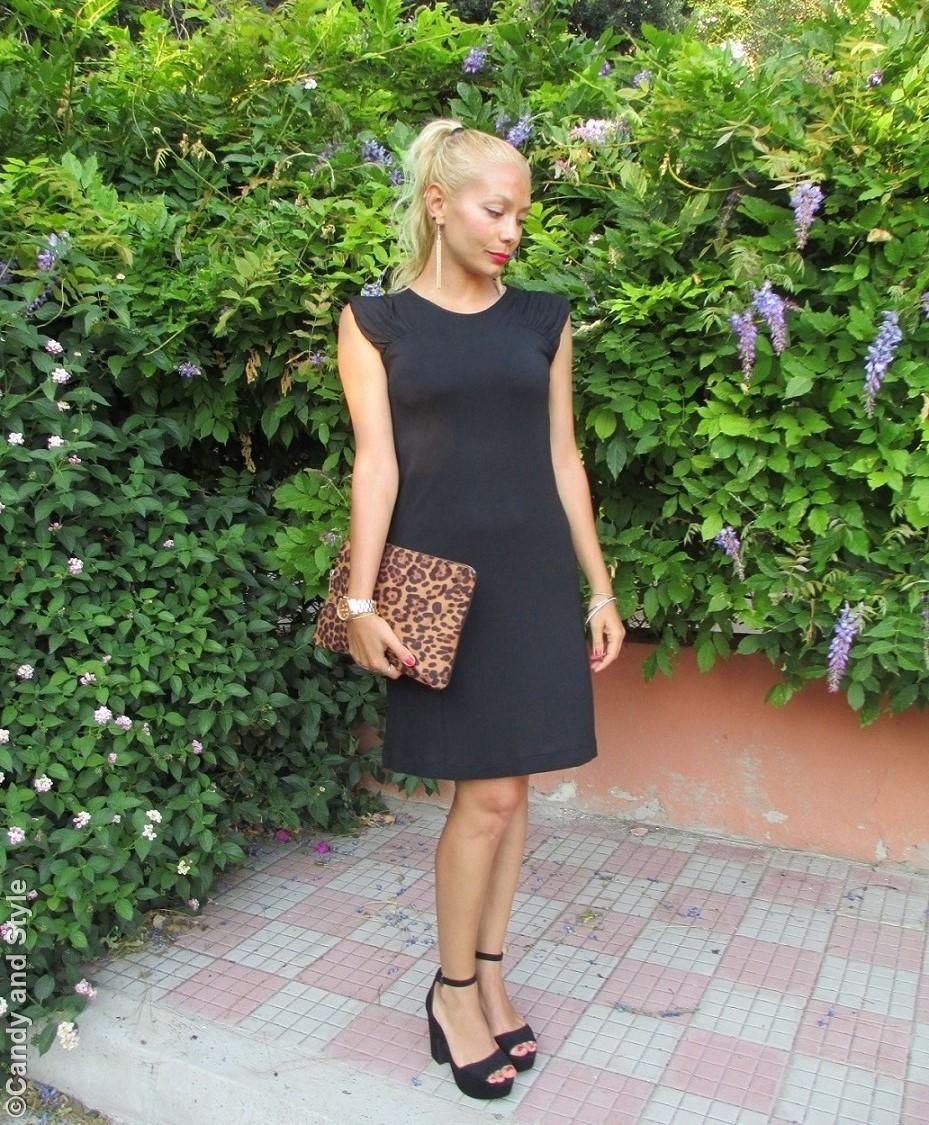 Black Dress, Leopard Clutch, Black Sandals - Lilli, Candy and Style Fashion Blog