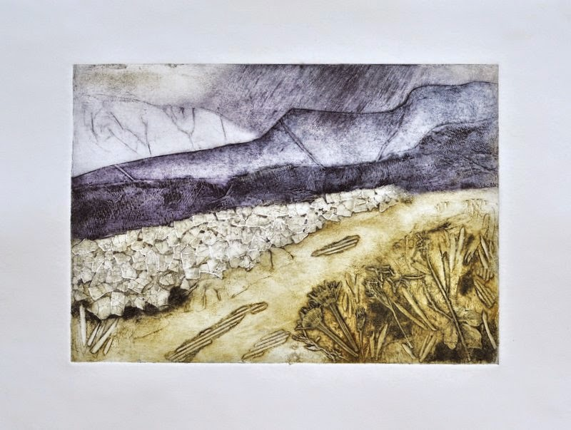 Collagraph printmaking landscape Yorkshire Dales