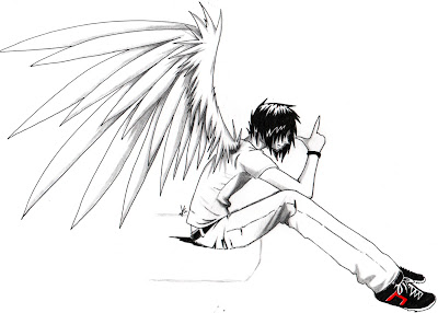 Anime Drawings Emo Angel Boy