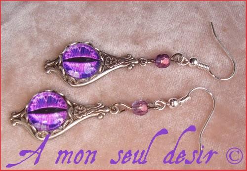 Parure Oeil Yeux violet Bague Boucles D'Oreilles Parure de Bijoux cyclope purple cat snake eyes set Jewels Jewellry
