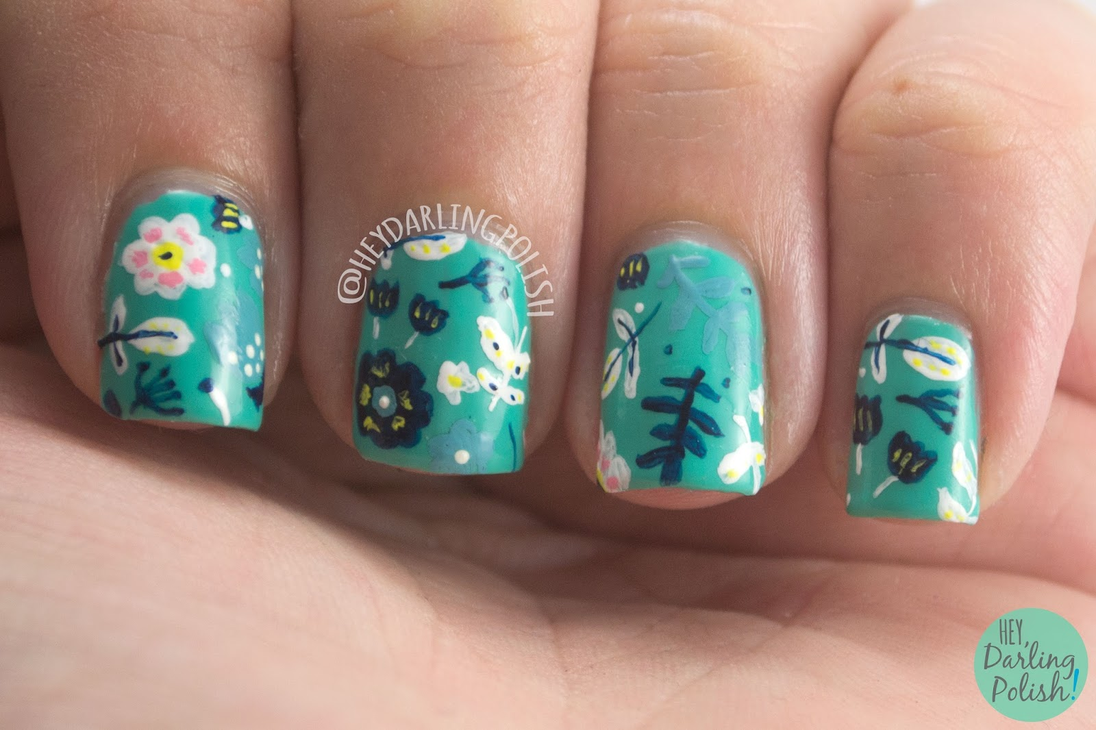 nails, nail art, nail polish, floral, pattern, hey darling polish, green, flowers, 31 day challenge, 31dc2014