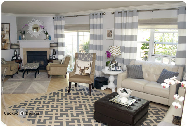 Grey and neutral living room with horizontal striped curtains