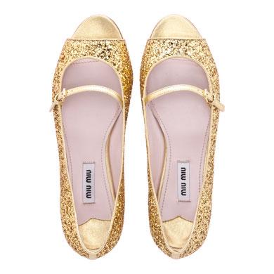 bright smile miu miu glitter open toe ballerina flat. Black Bedroom Furniture Sets. Home Design Ideas