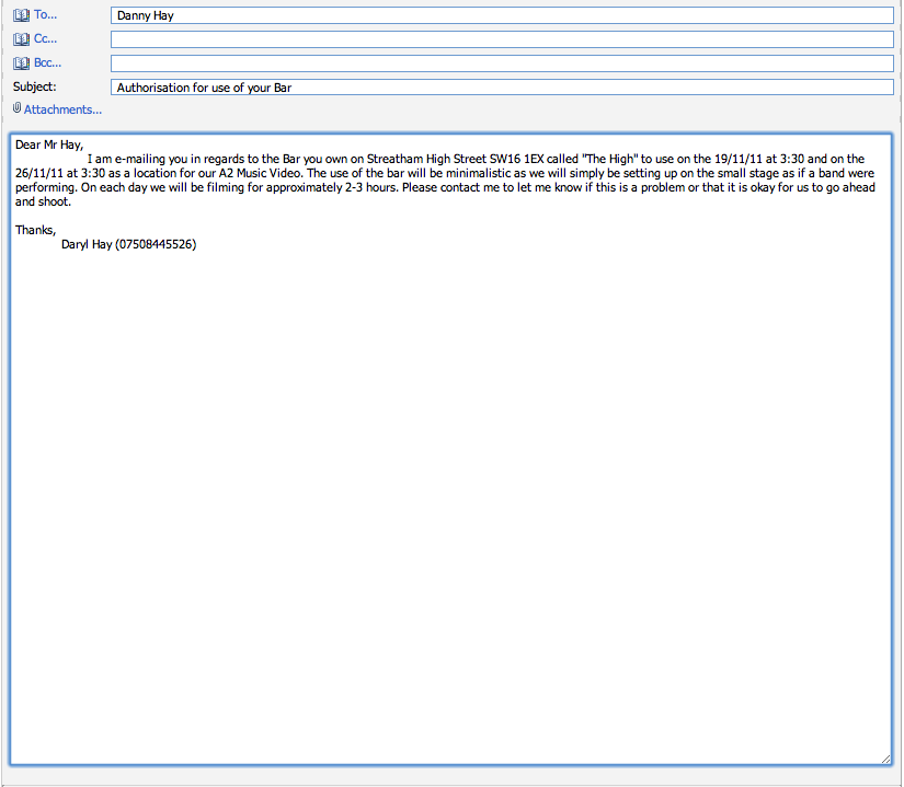 Location Permission Letters This Is The Email That Daryl Sent Asking For To Film In His Dads Bar
