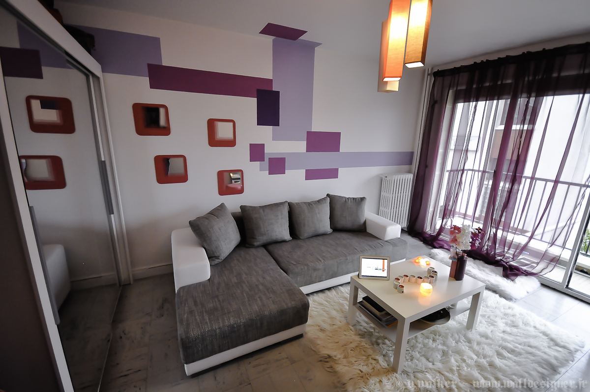 Abcr a studio - Decoration salon mauve et gris ...