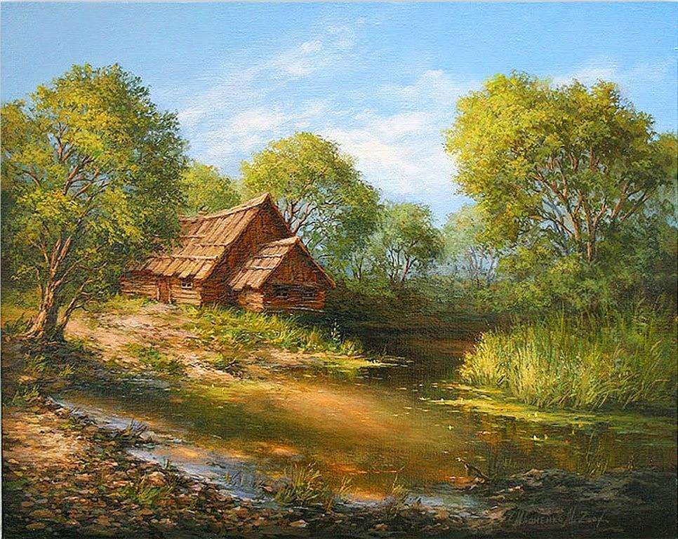 Im genes arte pinturas cuadros de paisajes con casas - Paisajes de casas ...