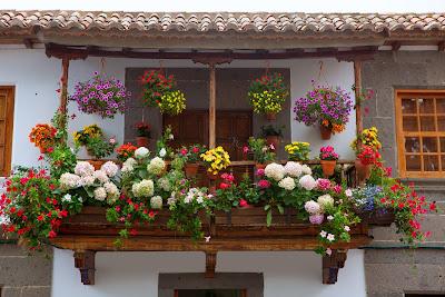 Fachada de una casa con muchas flores de colores