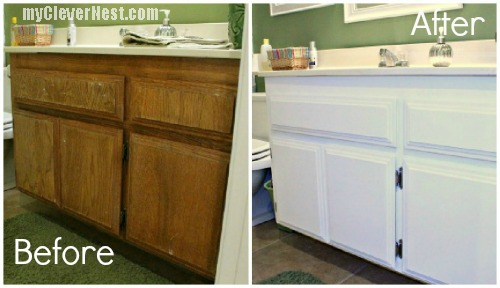 Clever nest diy repainting bathroom cabinets quick and for Repainting white kitchen cabinets