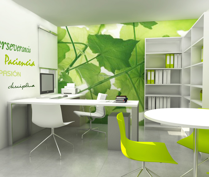 Decorar oficinas me gusta el papel pintado for Decoracion oficinas modernas pequenas