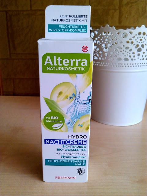 Alterra, Hydro Nachtcreme, Krem nawilżający z winogronem i białą herbatą na noc