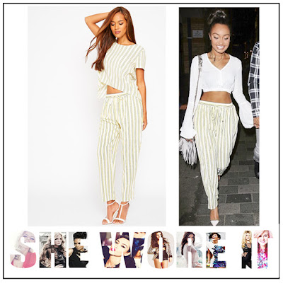 Black, Cream, Drawstring Waist, Elasticated Waist, Leigh-Anne Pinnock, Little Mix, Pretty Little Thing, Striped, Tapered, Trousers, Yellow,