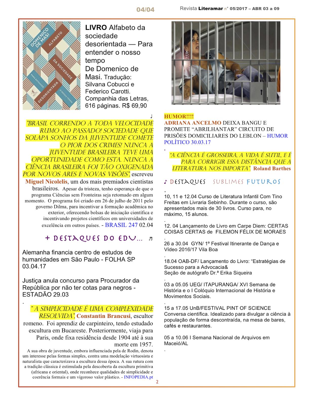 Revista Literamar 4/4 , um encontro cultural em DF, GO e AL