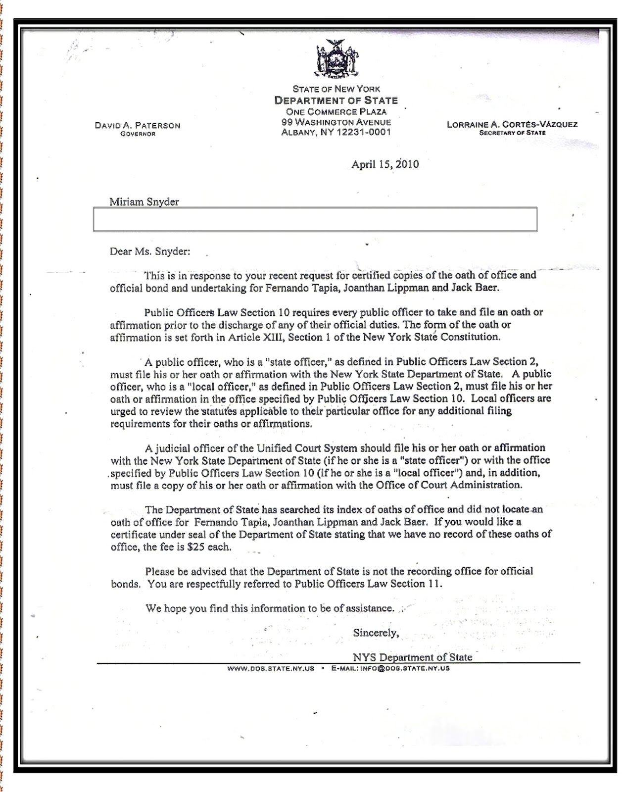 The Crimes of Jonathan Lippman Alleged Letter from NYDOS claiming – Oath of Office Template