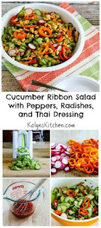 Cucumber Ribbon Salad with Peppers, Radishes, and Thai Dressing [from KalynsKitchen.com]