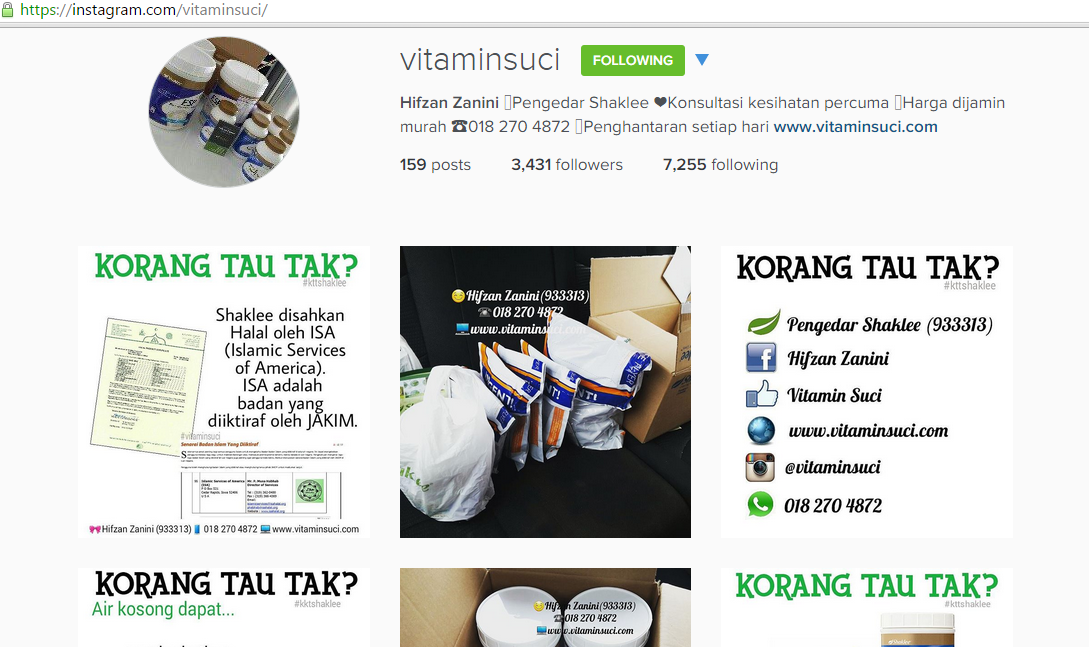 instagram vitamin suci
