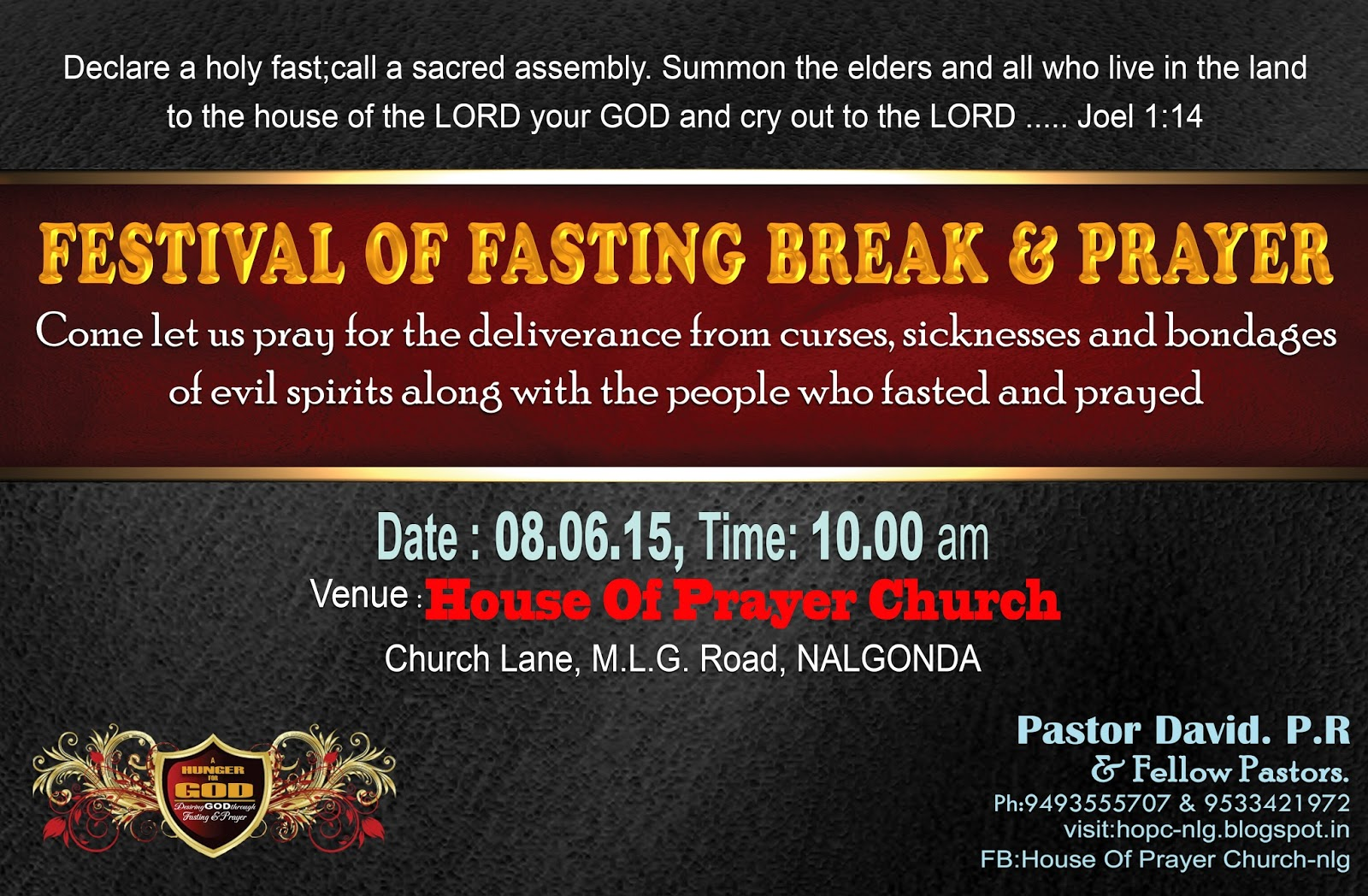 House of prayer church nlg invitation festival of fasting break here is my special invitation to all my fb friendslooking forward to meeting you in the festival god be with you all the time altavistaventures Choice Image