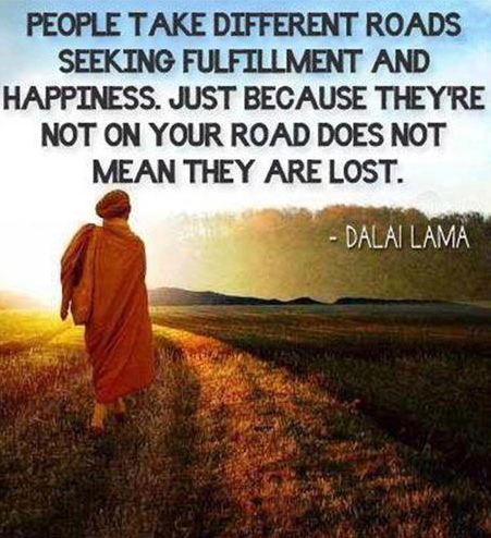 people take different roads seeking fulfillment and happiness.