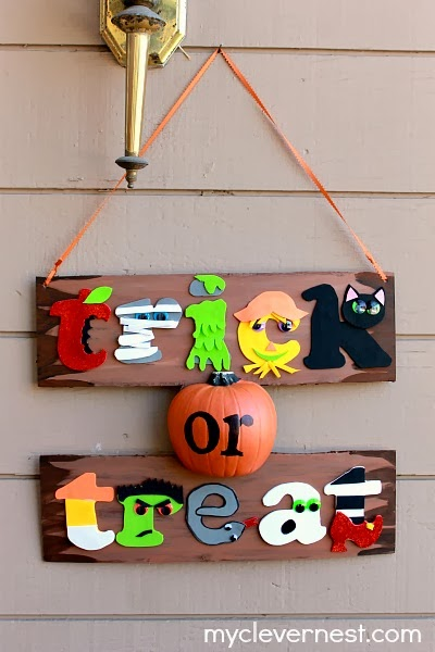 graphic, bright colors Halloween sign Trick or Treat #spookyspaces #joanncrafts #myclevernest #porch