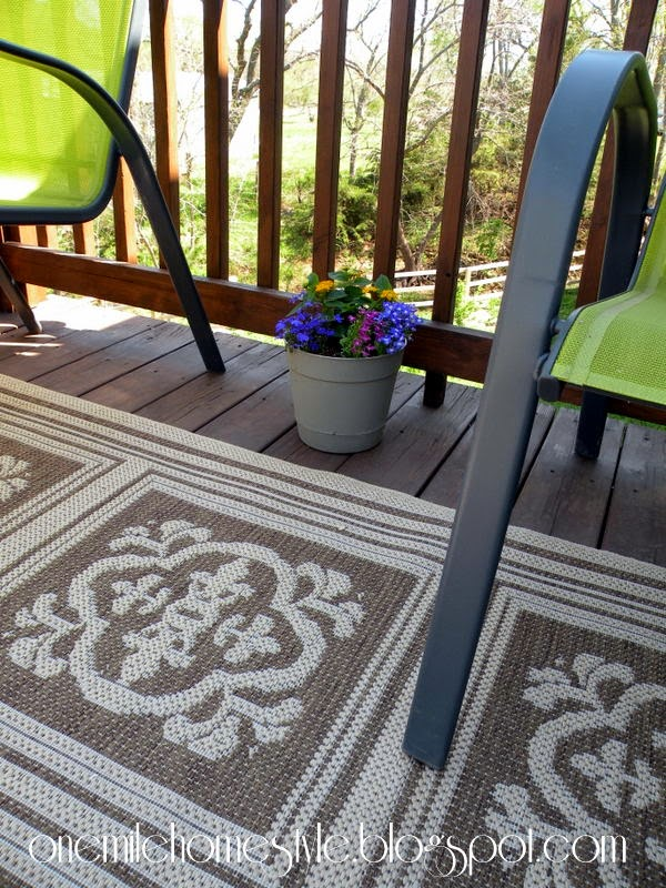 Deck Space Sneak Peek - Green Chairs and Brown Rug