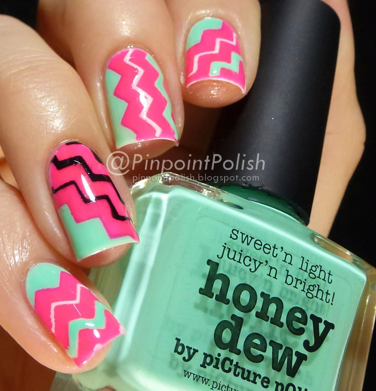 picture polish Hot lips Honeydew, chevron nail vinyls