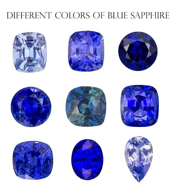 Different colors of Blue sapphires