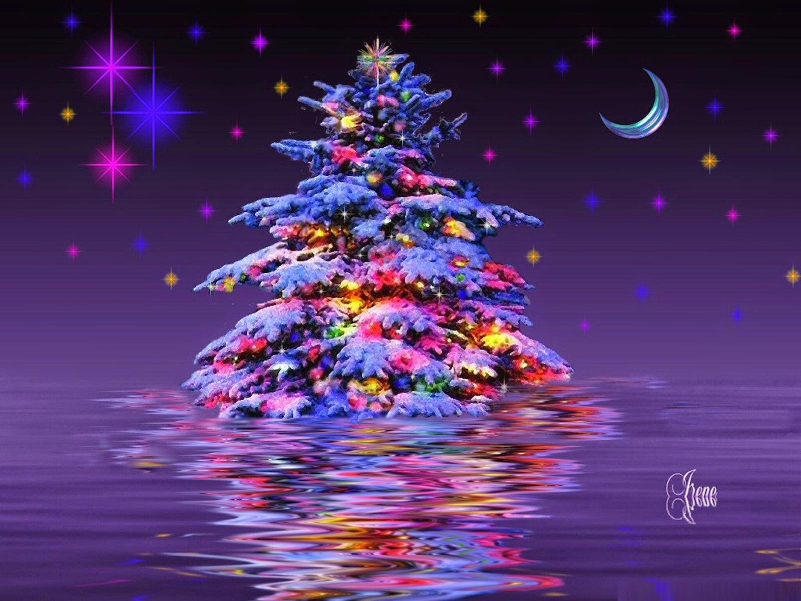 bright snowy christmas tree wallpaper