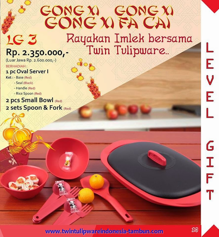 Level Gift Tulipware Tupperware Januari - Februari 2015