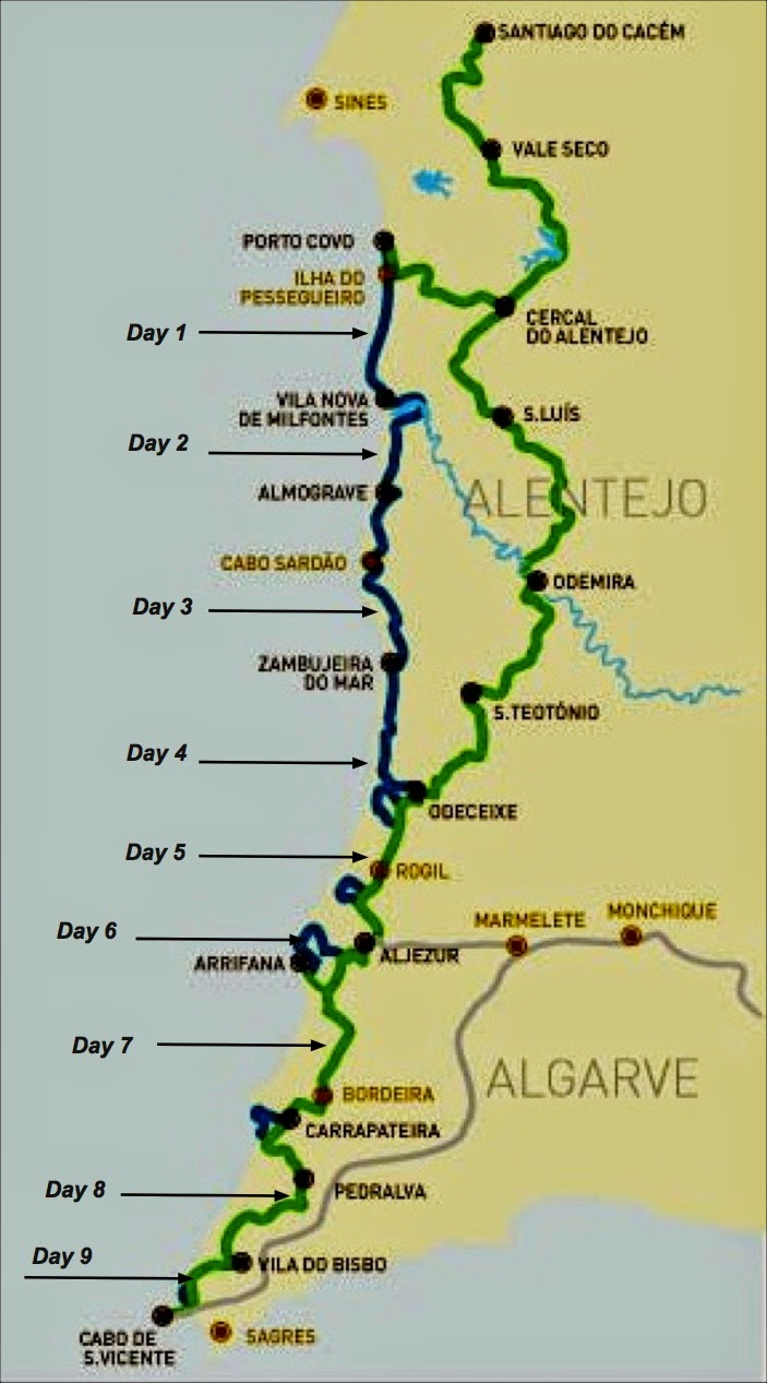 John Hayes Walks Rota Vicentina - Portugal hiking map