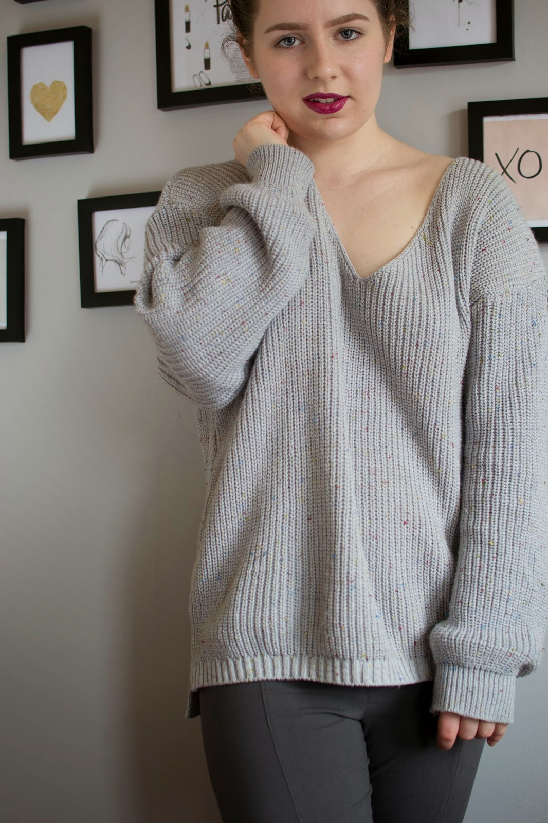 Oversized Sweater V-neck Fashion