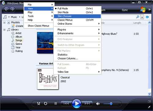 mengganti skin windows media player
