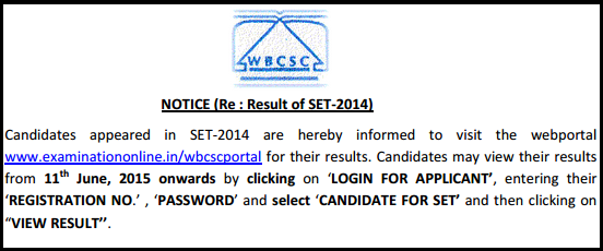WBCSC SET-2014 Result Declared | www.examinationonline.in/wbcscportal