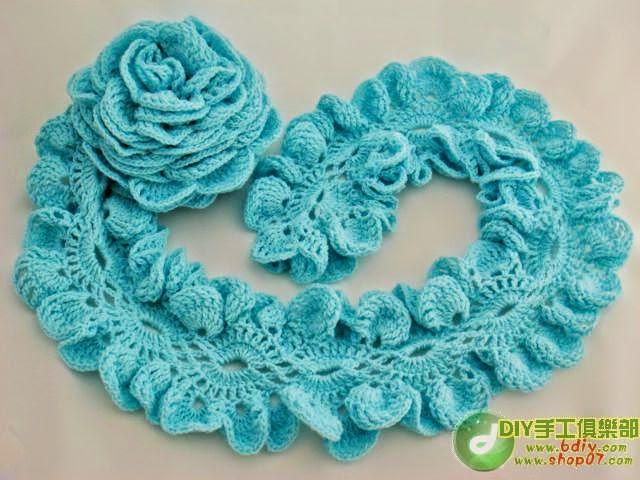 Una rosa realizada con hermosa puntilla / patrones | Crochet y Dos ...