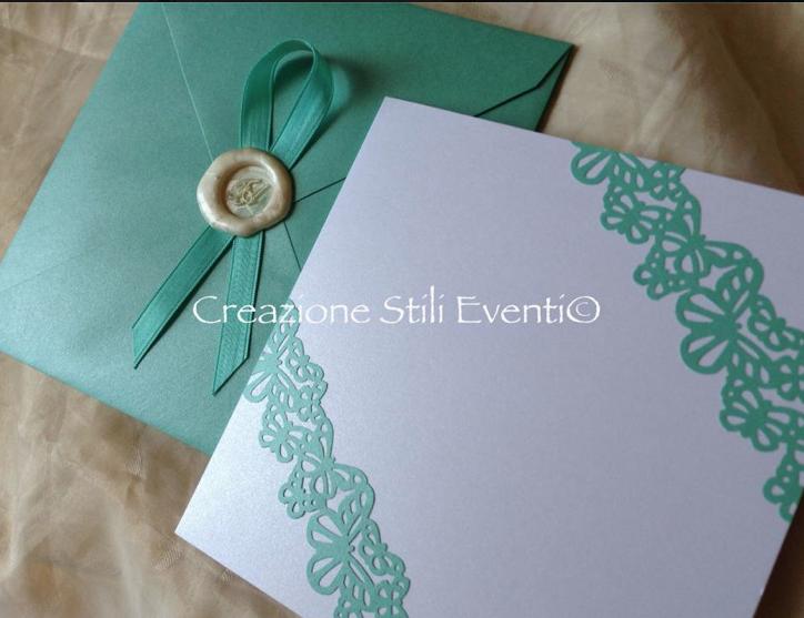 Partecipazioni Matrimonio Azzurro Tiffany : Creazione stili eventi partecipazioni tiffany con ceralacca