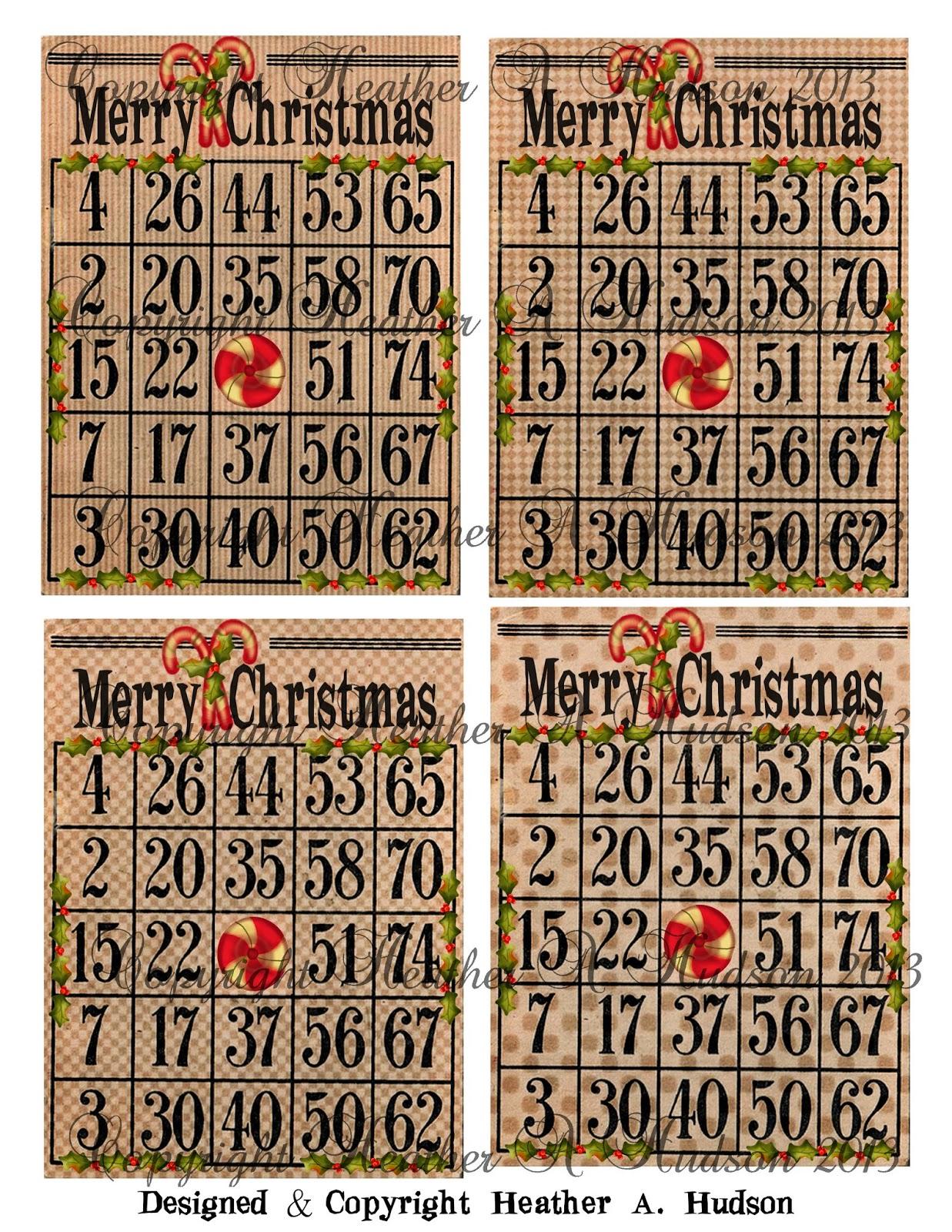 Vintage Bingo Card Vintage christmas bingo cards