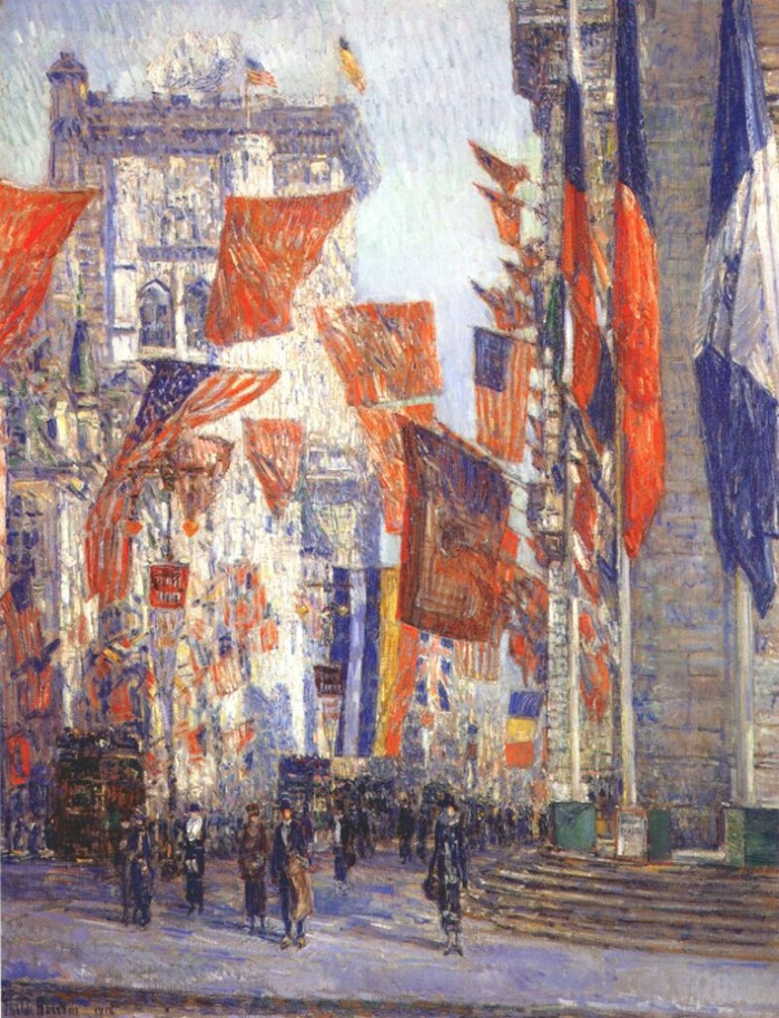 Childe+Hassam+1859-1935+-+American+painter+-+Avenue+of+the+Allies+1918+-+The+Impressionist+Flags++%282%29