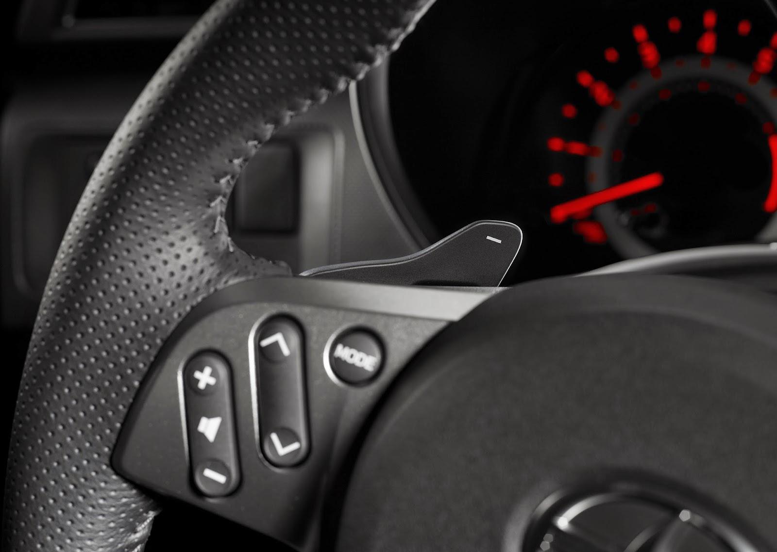 Steering wheel detail of 2015 Scion tC