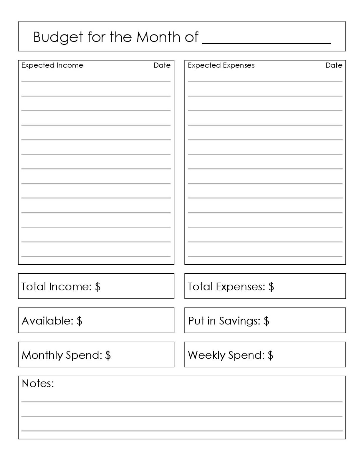 Free budget worksheets for adults