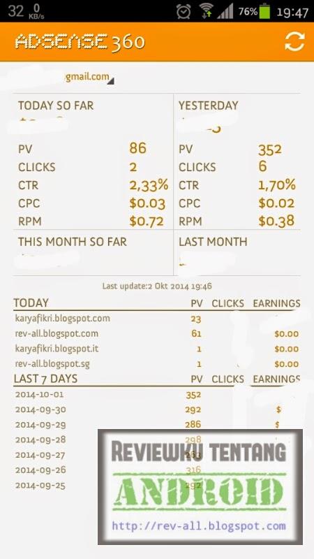 Tampilan utama aplikasi android ADSENSE 360 - Untuk melihat perkiraan pendapatan selama 7 hari dengan mudah dan cepat (ulasan oleh rev-all.blogspot.com)