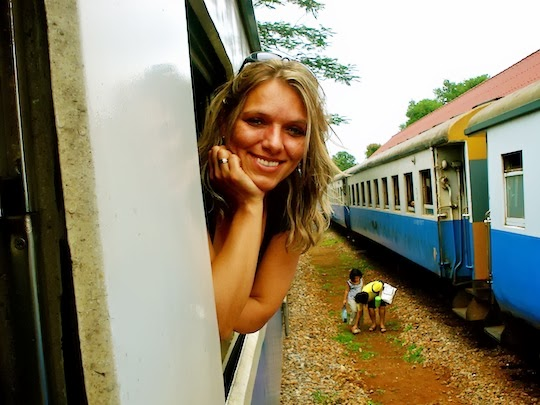 Holiday Nomad taking a local train in Thailand