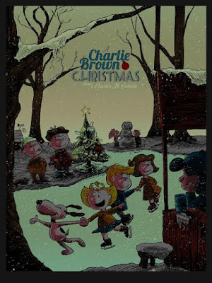 A Charlie Brown Christmas Glow in the Dark Variant Screen Print by Tim Doyle x Ridge Rooms x Dark Hall Mansion