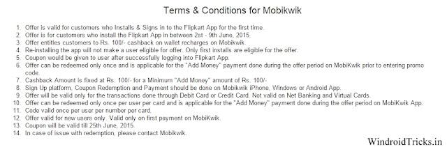 Flipkart App Offer Terms