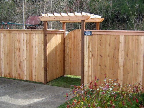 wooden arbor gate backyard fence design