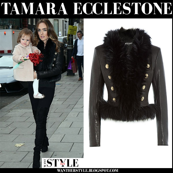 Tamara Ecclestone in black leather fur trimmed Balmain jacket what she wore