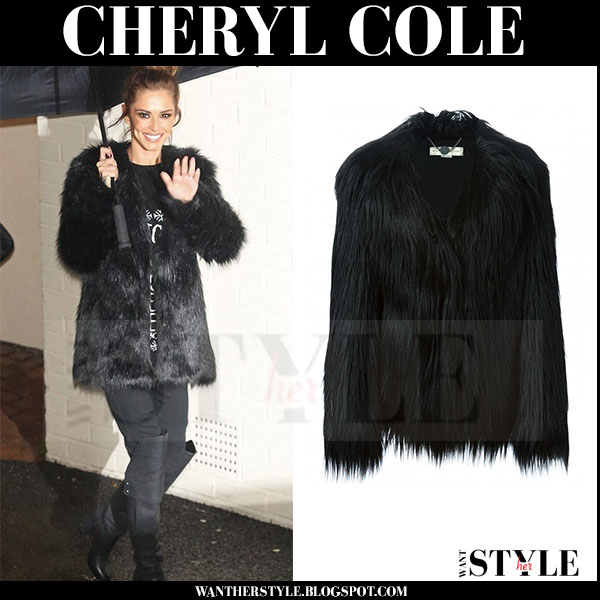 Cheryl Cole in black fur coat stella mccartney dan what she wore streetstyle