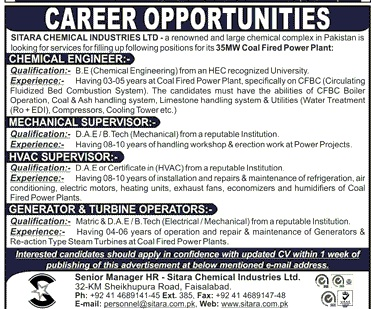 DAE Engineers Jobs in Sitara Chemical Industries Ltd. Pakistan