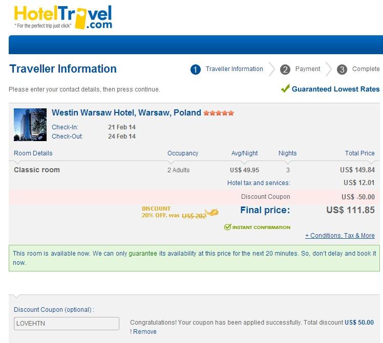 Westin Warsaw za 113 PLN za noc