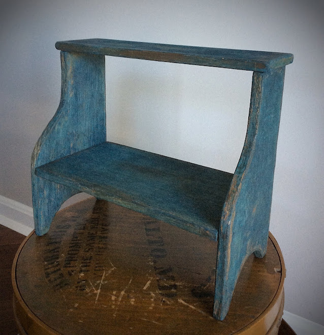 REPRODUCTION TWO TIER CRICKET BENCH IN BLUE PAINT