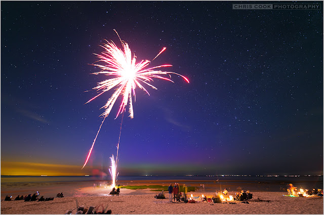 Cape Cod wedding blog photo from Chris Cook Photography about July 4th Aurora Borealis