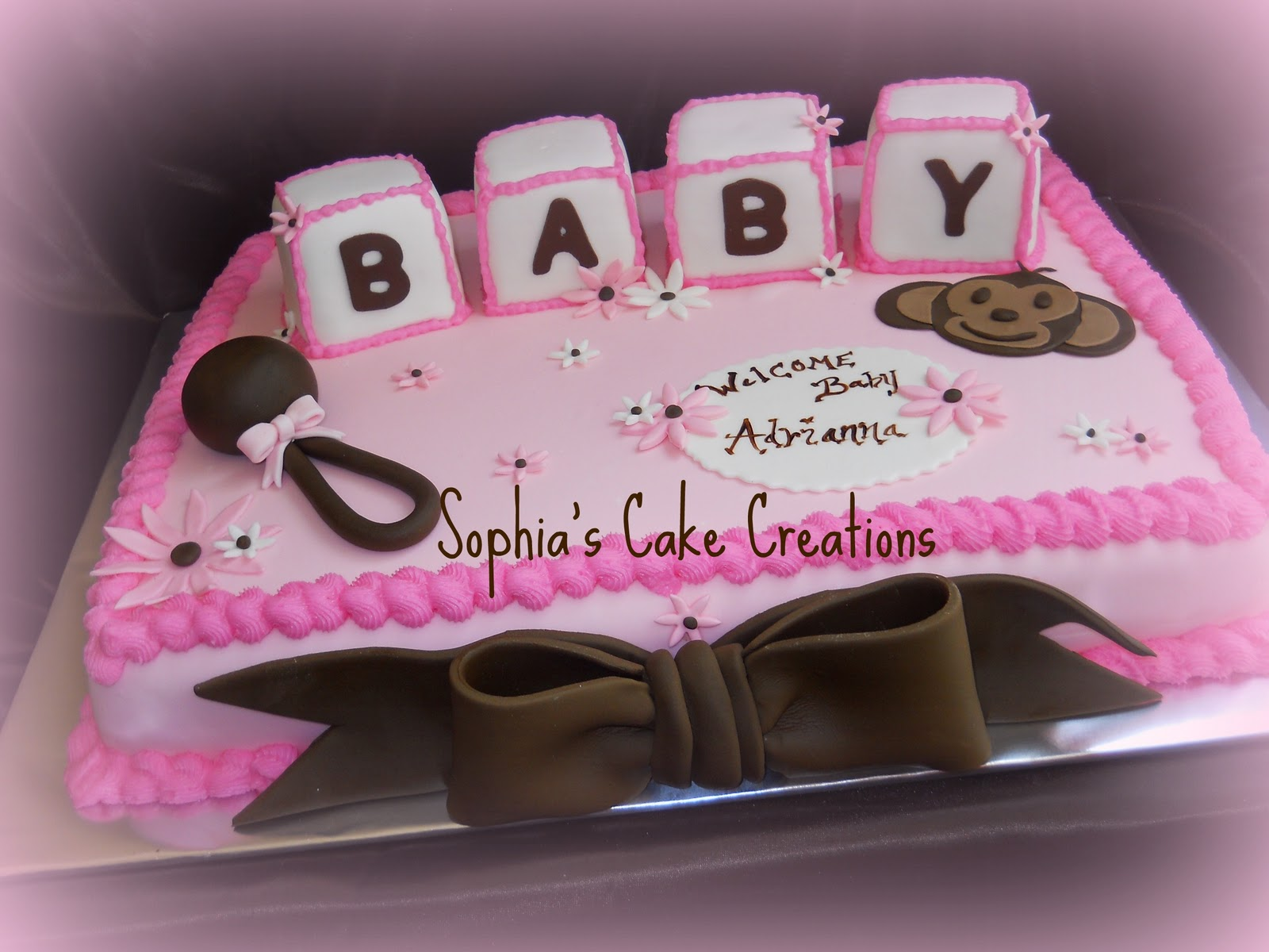 Sophia's Cake Creations: Pink, Brown and White Baby Shower Cake