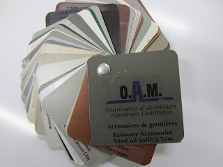 Aluminum colour selection from O.A.M.